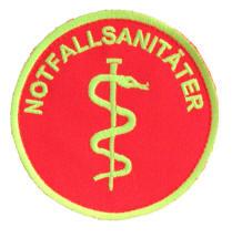 Emblem rund /Äskulap//NOTFALLSANIT/ÄTER mit Klett