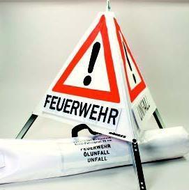 Warnpyramide ACHTUNG 90cm Faltsignal retroreflektierend Warndreieck Warnschild