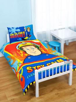 bettw sche bettbezug feuerwehrmann sam hero 120x150 cm mit. Black Bedroom Furniture Sets. Home Design Ideas
