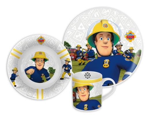 3-Teilig mit Teller Schale /& Trinkglas Feuerwehrman Sam Frühstücksset