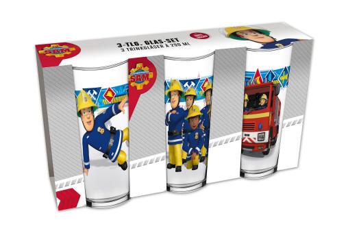 Feuerwehrman Sam Frühstücksset Schale /& Trinkglas 3-Teilig mit Teller